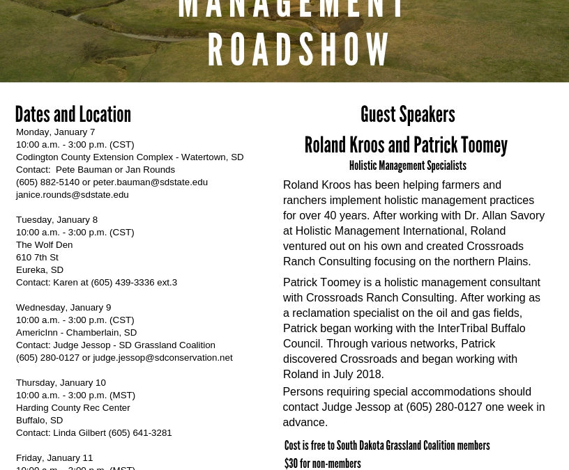 Upcoming Holistic Management Roadshow